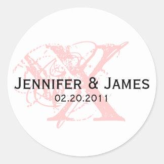 Monogram X Save the Date Wedding Sticker
