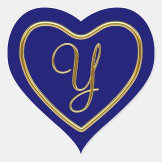 Monogram Y in 3D gold Heart Sticker
