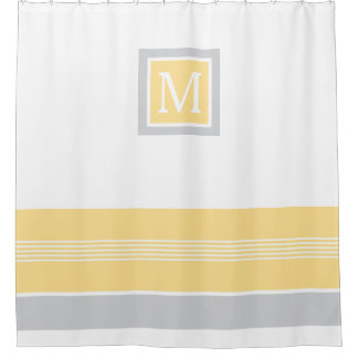 Monogram Yellow and Grey Striped Border