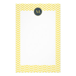 Monogram Yellow and White Chevron with Charcoal Stationery