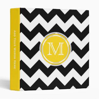 Monogram: Yellow Black And White Chevron Binder