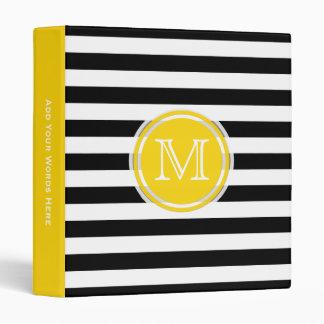 Monogram: Yellow Black And White Striped Binder
