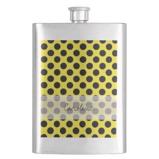 Monogram Yellow Black Cute Chic Polka Dot Pattern Hip Flask