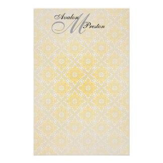 Monogram Yellow & Black Lace Wedding Stationery
