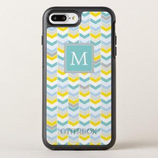 Monogram | Yellow & Blue Herringbone OtterBox Symmetry iPhone 8 Plus/7 Plus Case