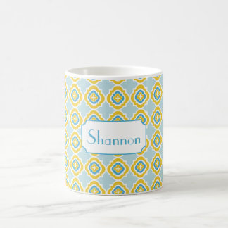 Monogram Yellow Blue Quatrefoil Mug- Custom Mug