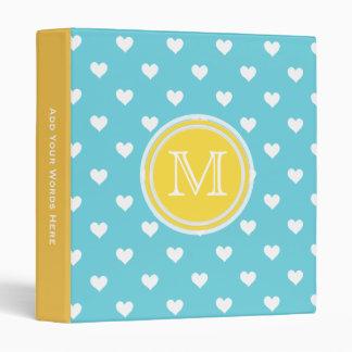 Monogram: Yellow Blue White Heart Binder