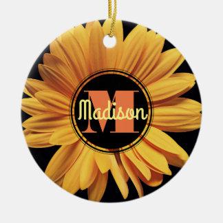 Monogram Yellow Daisy Gerbera Aster Elegant Flower Ceramic Ornament