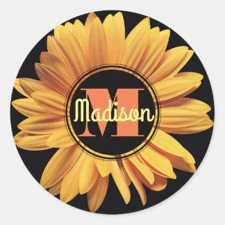 Monogram Yellow Daisy Gerbera Aster Elegant Flower Classic Round Sticker