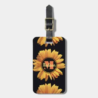 Monogram Yellow Daisy Gerbera Aster Elegant Flower Luggage Tag