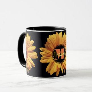 Monogram Yellow Daisy Gerbera Aster Elegant Flower Mug