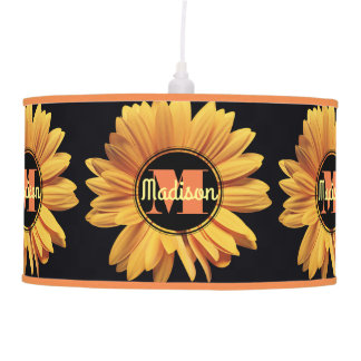 Monogram Yellow Daisy Gerbera Aster Elegant Flower Pendant Lamp