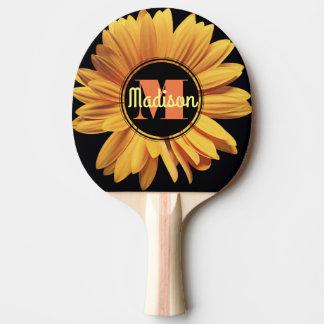 Monogram Yellow Daisy Gerbera Aster Elegant Flower Ping Pong Paddle