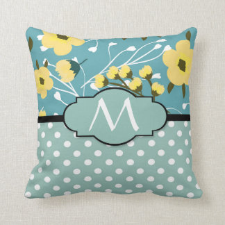 Monogram Yellow Floral Teal and White Dots Pattern Throw Pillow