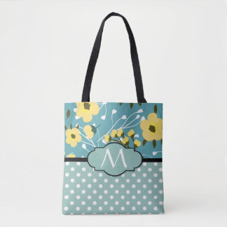 Monogram Yellow Flowers and Teal Blue & White Dots Tote Bag