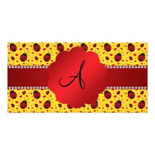 Monogram yellow ladybug hearts photo cards