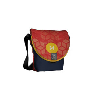 Monogram Yellow Navy Red Snowflake Pattern Courier Bag