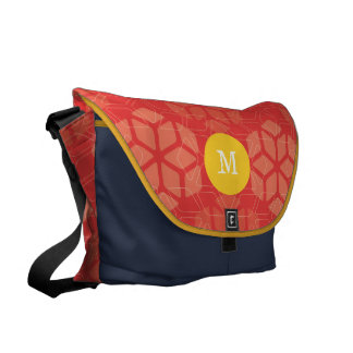 Monogram Yellow Navy Red Snowflake Pattern Courier Bags