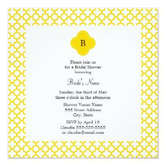 Monogram Yellow Quatrefoil Pattern   Bridal Shower Card