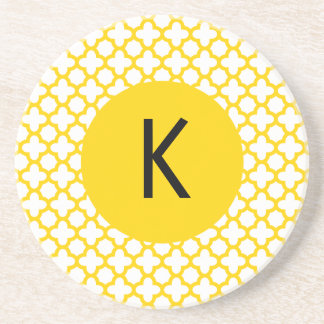 Monogram Yellow Quatrefoil Pattern Coaster