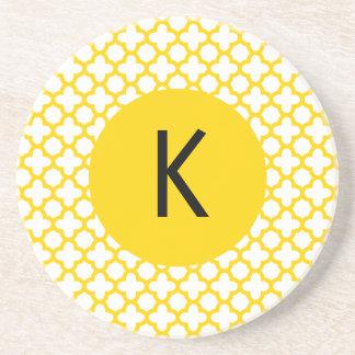 Monogram Yellow Quatrefoil Pattern Drink Coasters