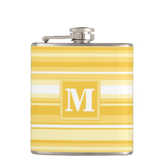 Monogram yellow stripes hip flask