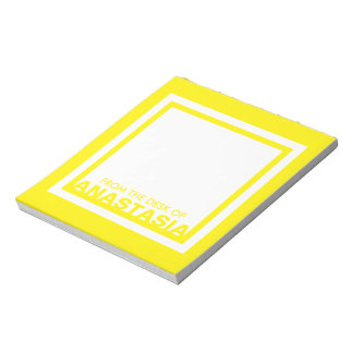 Monogram Yellow Trendy Simple Color Square Custom Notepad