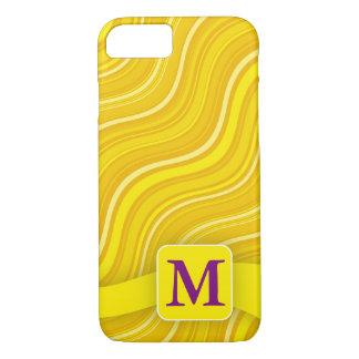 Monogram Yellow Wavy Lines iPhone 7 Case