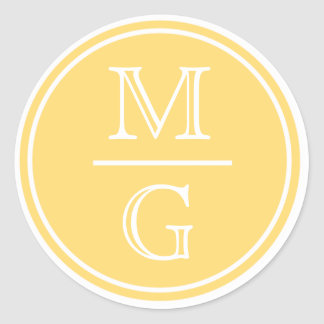 Monogram Yellow Wedding Sticker