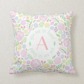 Monogram You Are So Loved Baby Girl Pillow