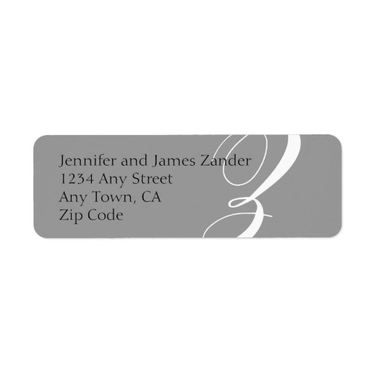 Monogram Z Return Address Labels Grey