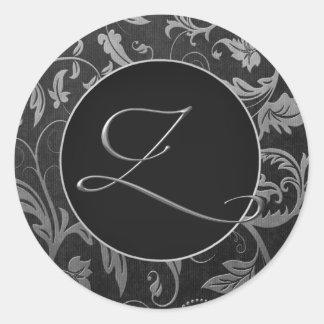 Monogram Z Silver and Black Damask Wedding Seal