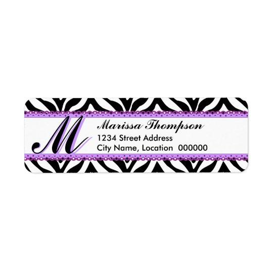 Monogram Zebra Print and Purple Lace Return Address Label