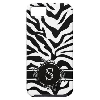 Monogram Zebra Print in Black and White iPhone 5 Case