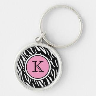 Monogram Zebra Stripes with Pink Keychain