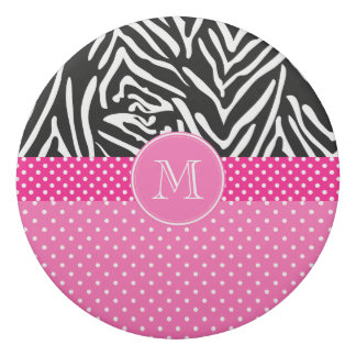 Monogram Zebra with Hot Pink Polka Dot Pattern Eraser