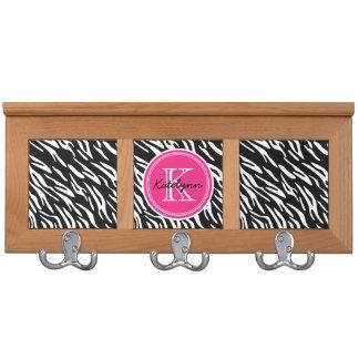 Monogram Zebras Print with Pink Accent Coat Rack