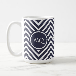 Monogram Zigzag Chevrons Dusty Blue Mug