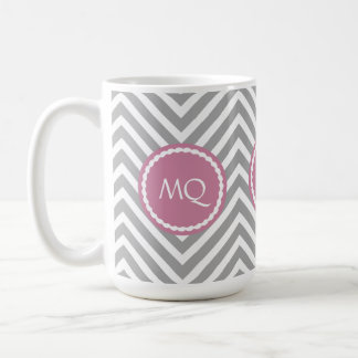 Monogram Zigzag Chevrons Rose Pink & Gray Mug