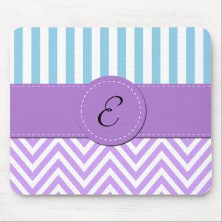 Monogram - Zigzag Pattern, Chevron - White Purple Mouse Pad
