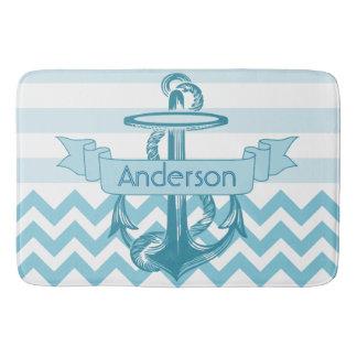 Monogramed anchor bath mat