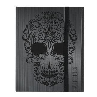 Monogramed Black Brushed Metal, Floral Sugar Skull iPad Case