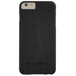 Monogramed Black Faux Wood Grain Illustration Barely There iPhone 6 Plus Case