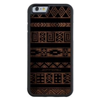 Monogramed Black Geometric Tribal Pattern Carved Walnut iPhone 6 Bumper Case