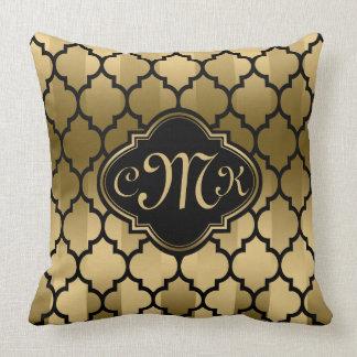Monogramed Black & Gold Stripes & Quatrefoil Throw Pillow
