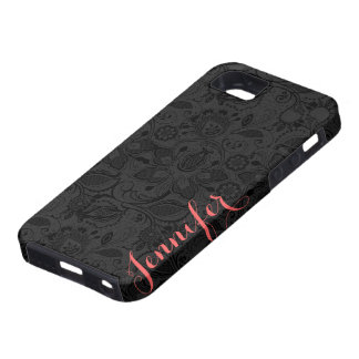 Monogramed Black Vintage Floral Girly Lace iPhone 5 Cases