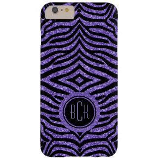 Monogramed Black Zebra Print & Purple Glitter Barely There iPhone 6 Plus Case