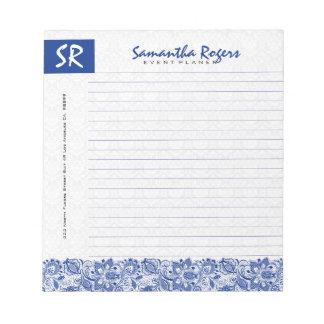 Monogramed Blue Floral Lace & White Damasks 2a Notepad