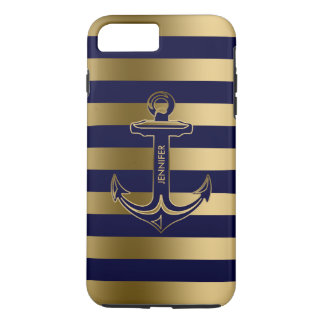 Monogramed Blue & Gold Stripes, Nautical Anchor iPhone 7 Plus Case