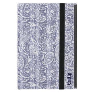 Monogramed Blue Line Stripes White Floral Paisley Case For iPad Mini